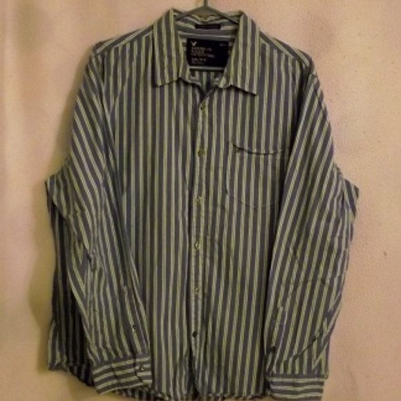 AMERICAN EAGLE OUTFITTERS Men's Striped Shirt XXL